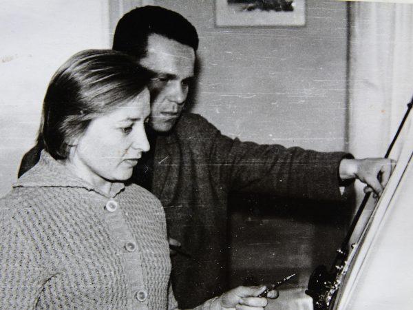 Julius Katkauskas ir Salomėja Papartienė darbo metu