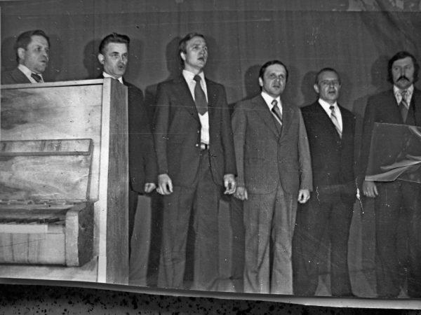 SKB vyrų ansamblis 1978 m. J. Rutkauskas, J. Šalčiūnas, nežin., J. Katkauskas, J. Šolys, nežin.