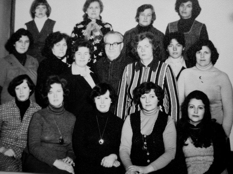 Skyriaus darbuotojai 1980 m. Sėdi: R. Šiugždinienė, T. Chabijeva, A. Šimonėlienė, J. Švirinienė, D. Andriušaitienė. 2-je eil. nežin. A. Kasakaitienė, P. Gustainienė, V. Gavėnas, J. Lenkauskienė, D. Stepanauskienė, E. Akelaitienė. 3-je eil. E. Rutkauskienė, S. Valiukevičienė, J. Steponaitienė, R. Bujauskienė